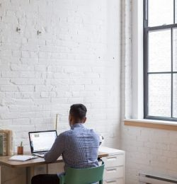 man working from home image